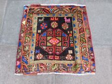 Vintage Hand Made Traditional Oriental Blue Pink Wool Small Square Rug 76x78cm