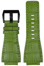24mm Panatime Green Leather Gator Watch Band w Match Stitching For Bell & Ross