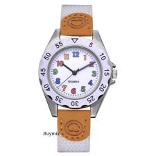 Children Wrist Watch Fabric and Leather Strap Girls Boys Learn Time Numbers Gift