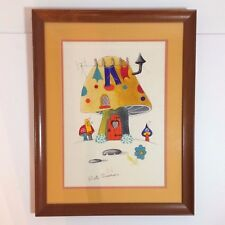 Framed Painting of A Colorful Mushroom House - By Ruth Emerson - SIGNED
