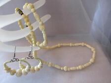 Vintage Antique Old Carved Graduated Bead Necklace Bracelet Earrings Set