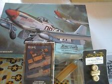 P51D MUSTANG 1/32 HASEGAWA MODEL+COCKPIT UPDATE+RESINFLAPS+RESIN WHEELS VE