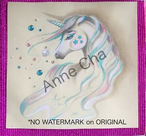 Anne Cha Original Embellished Unicorn Sketch My Little Pony Kawaii Painting MLP