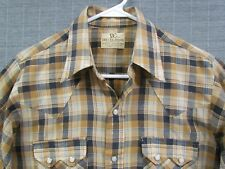 Dee Cee Western Shirt, Earth Tone Plaid, Pearl Snap Buttons, Long Sleeve