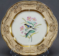 Mid 19th Century Minton ? Hand Painted Floral & Swallow Bird Porcelain Plate
