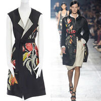 DRIES VAN NOTEN SS14 black oriental floral jacquard silk cotton back belted vest