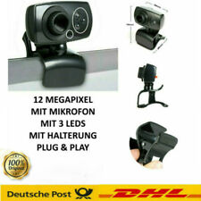 Full HD Webcam mit Mikrofon 3 LED licht USB Computer Kamera für PC Laptop Mac DE