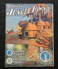 "1908 ""Down In Jungle Town, A Monkey Ditty"" Black Americana Sheet Music Rare"