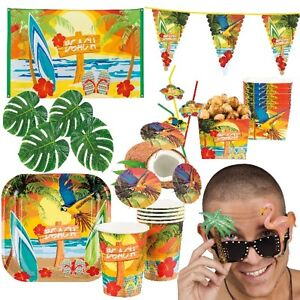BEACH STRAND HAWAII Motto Party Deko - Riesenauswahl -  Sommerfest Gartenparty