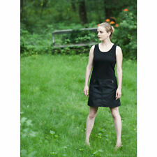 Vintage A Line Anne Klein Black Wool Satin Minidress US 6, late 80s early 90s