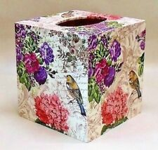 Made To Order, Handmade Decoupage Wood Tissue Box, Floral, Birds