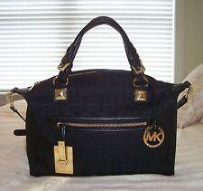 NWT Michael Kors Large CALISTA Satchel Bag MK Sig Jacquard Black/Black/Black