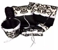 Black White Satin Wedding Flower Basket Pen Guest Book Ring Pillow Garter Set