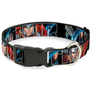 """Buckle Down PLASTIC CLIP DOG COLLAR THOR POSES 1"""" wide Sz S 9""""-15"""""""