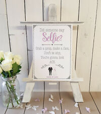 Personalised Selfie photo booth selfie props wedding sign A4