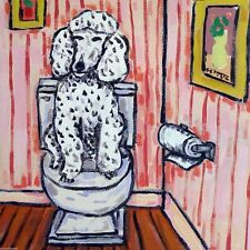 white Poodle dog bathroom print on tile coaster gift Jschmetz modern folk art