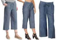 New M&S Women Linen Blend Denim Blue 3/4 Crop Trousers Size 10 To 18 *LICK*