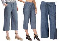 New M&S Women Linen Blend Denim Blue 3/4 Crop Trousers Size 10 To 18 *LICK*