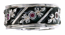 Smithsonian Black Enamel & Garnet Accent Sterling Silver Band Ring Size 6