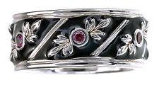 Smithsonian Black Enamel & Garnet Accent Sterling Silver Band Ring Size 6