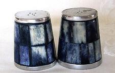 Cast Aluminum Salt & Pepper Shakers - Shades Of Blue Tile - 2-1/2 X 2