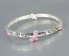 Inspirational Pink Ribbon BREAST CANCER AWARENESS Stretch Stackable Bracelet
