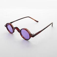 Round Retro Victorian w/ Purple Colored Lens Vintage Sunglasses Brown - Shiva