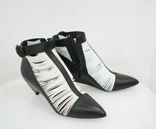 $1885 Balenciaga Leather Black White Heels Shoes Booties Sz 41-Italian 10 US
