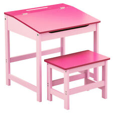 Pink Kids Children Study Activity Desk Table And Stool Chair Seat Furniture Set