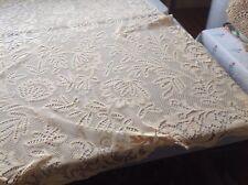 """Vtg/ Antique Gorgeous Ivory Point de Venice Picot Trim Tablecloth 92"""" X 70"""" #3"""