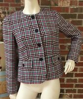 Talbots Womens 6 Red Green White Wool Blend Career Work Blazer Jacket NWOT