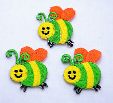 3x BUMBLE BEE BEES  2.5cm  Embroidered Iron Sew On Cloth Patch Badge  APPLIQUE