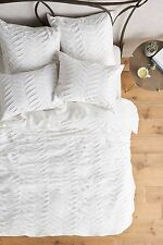 NEW size King Anthropologie Pinturas Jersey Duvet Soft cotton bedding $268 White