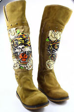 Ed Hardy Tan Suede Boots Tiger Painted Print Side Zip Studded Size 6