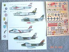 """F-86A/F/CANADIAN SABRE """"6 USAF/NARWAY/GERMANY/RAF/RCAF/AUSTRAL"""" ESCI DECALS 1/72"""