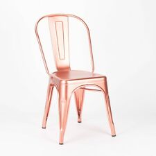 TOLIX METAL DINING CHAIR COPPER ROSE GOLD STYLE INDUSTRIAL CAFE STACKABLE SEAT