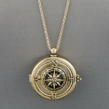 Long Gold Chain Unique Compass Magnifying Glass Pendant Necklace