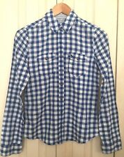 abercrombie Girls Blue and White Plaid 100% Cotton Long Sleeve Shirt 15-16 Yrs