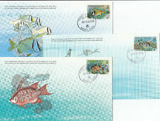 Stamps Turks Caicos fish set of 3 on Cousteu Society Collection cards first day