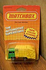 MATCHBOX MB-36 REFUSE TRUCK GREEN/YELLOW STATE CITY 1986 MOC