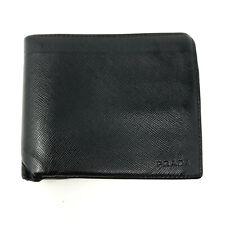 PRADA Saffiano Leather Bi-fold Purse Wallet Cardholder in Black - Made in Italy