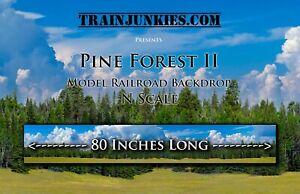 """Train Junkies N Scale """"Pine Forest II"""" Model Railroad Backdrop 12""""x 80"""""""
