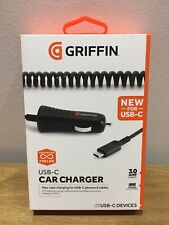 Griffin USB-C Car Charger 3.0 Amp 15w With Coiled Cable for Samsung,LG,Google