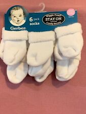 Nwt Gerber 6 Pack Socks Premie Doll Organic Cotton Wiggle Proof Stay On White Aj