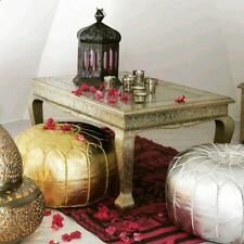 FREE Shipping 2 MOROCCAN POUF Ottoman GOLD SILVER METALLIC Pouff Footstool Puff
