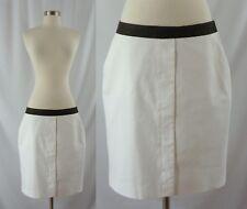 Worth Size 10 White Summer Straight Above Knee Pencil Skirt Braided Waist Band