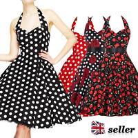 Womens Vintage 1950s 60s 40s Dress Floral Halter Style Rockabilly Swing Dresses