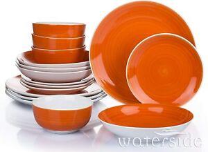 Waterside Fine China 16 Piece Flame Orange Spin Wash Dinner Set