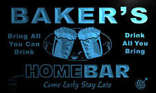 p1037-b Baker's Personalized Home Bar Beer Family Name Neon Light Sign
