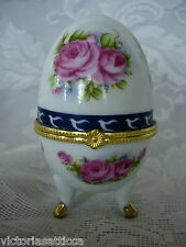Gold Footed Ceramic Egg Shaped Hinged Trinket Box - Pink Roses